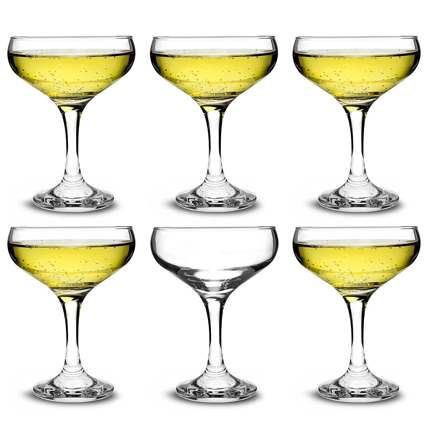 City Champagne Coupe Glasses 7oz / 200ml - Set of 6 - Elegant Gift Boxed Cocktail Coupe Glasses