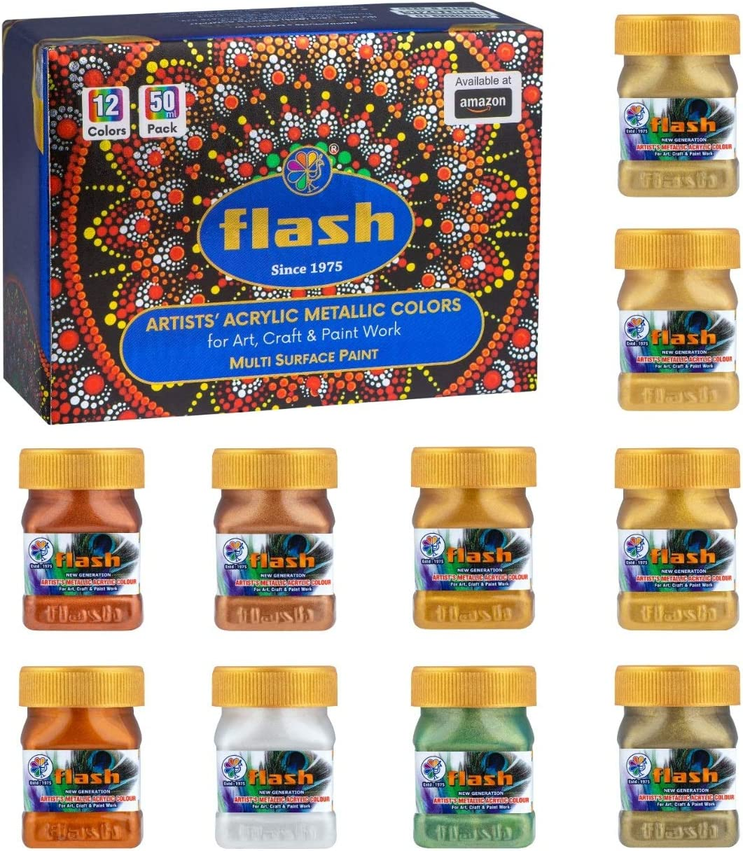 Flash Premium Iridescent Solid Metallic Acrylic Paint Set 12 Shades(50ml,1.7 oz), Highly Pigmented & Fade-Resistant, Non-Toxic, Multi-Surface Paint for Artists, Hobby Painters & Kids