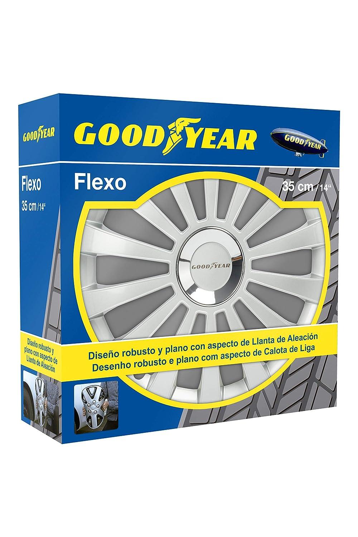Good Year GOD9029 - Set de 4 Tapacubos Flexo 30, Plata, 14 Pulgadas