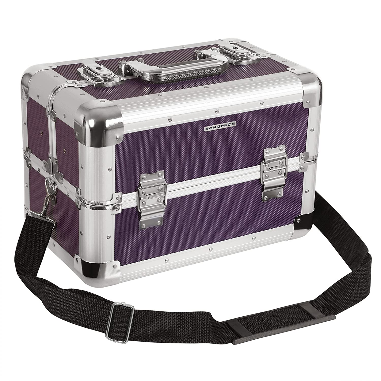Songmics® Vanity-case XXL Grand modèle pour bagages 36, 5x 22x 25cm Aluminium noir JBC228