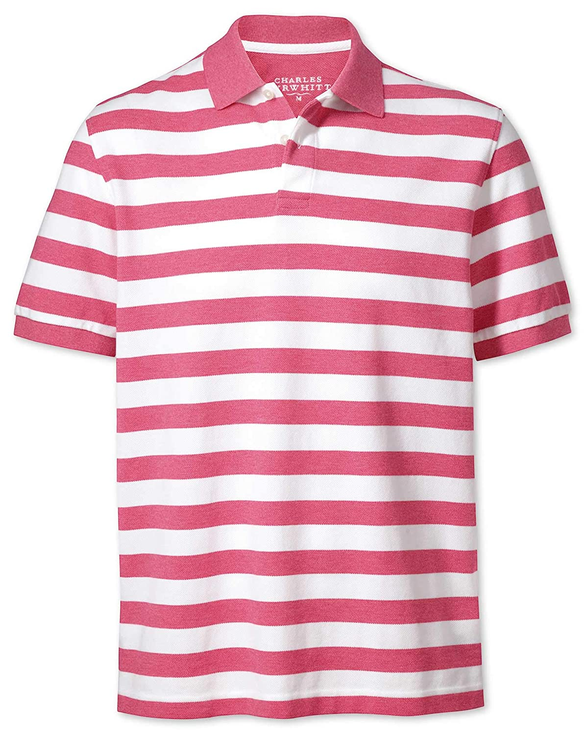 e786aef48 Dark Pink Stripe Pique Cotton Polo by Charles Tyrwhitt: Amazon.co.uk:  Clothing