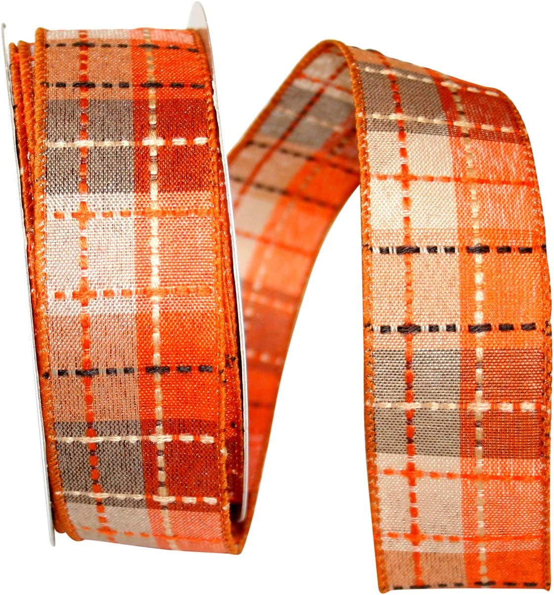 Reliant Ribbon Check Stitch Plaid Field Wired Edge Ribbon 1-1//2 Inch X 20 Yards Multi
