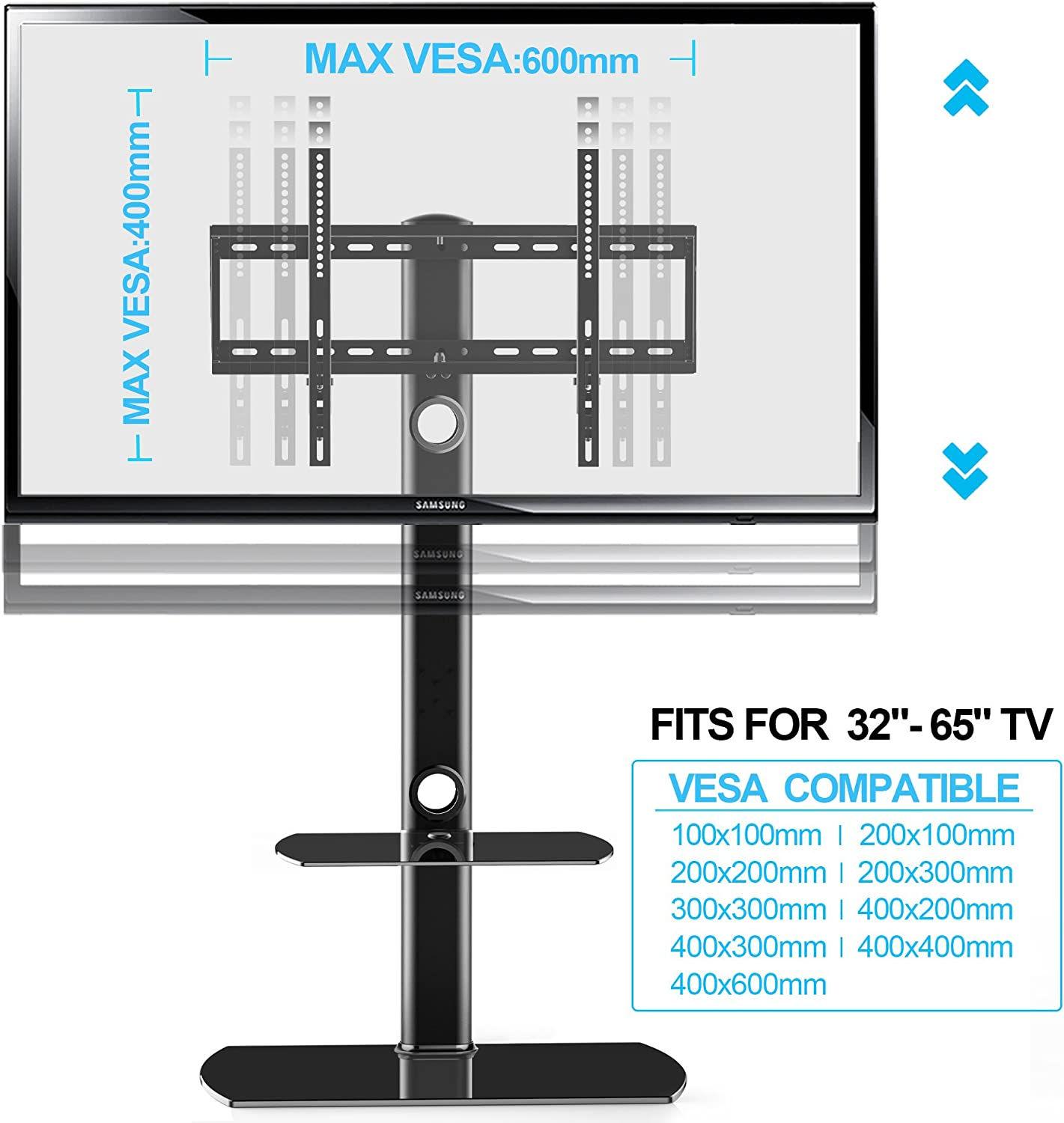 FITUEYES Black Height Adjustable Swivel Mount Floor TV Stand Base with Tempered Glass Base /& Wire Management for 32-65 Inch Flat or Curved Screen TVs