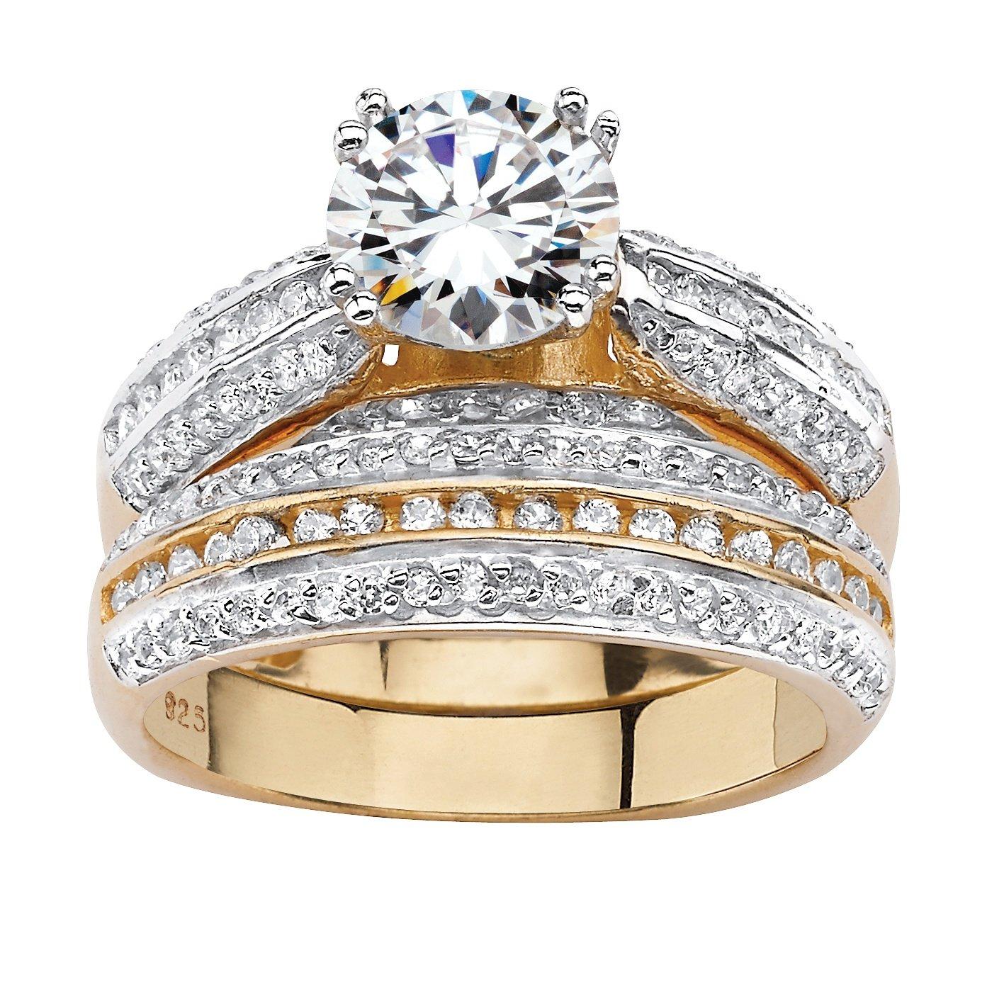 Palm Beach Jewelry - Set anillos boda para novia - Oro 18k y plata de ley- Circonitas cúbicas - TCW 2,55 - 9 (15,60 mm): Amazon.es: Joyería