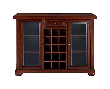 Aprodz Mango Wood Wine Storage Stylish Dillonza Bar Cabinet for Living Room | Mahogany Finish
