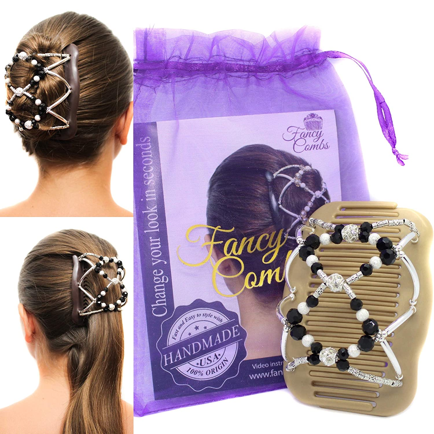 Amazon Com Fancy Combs Hair Clip Combs Hair Accessories For Women And Girls Premium Beaded Double Magic Hair Combs For Thin Or Thick Hair Long Or Short Instant Bun Maker