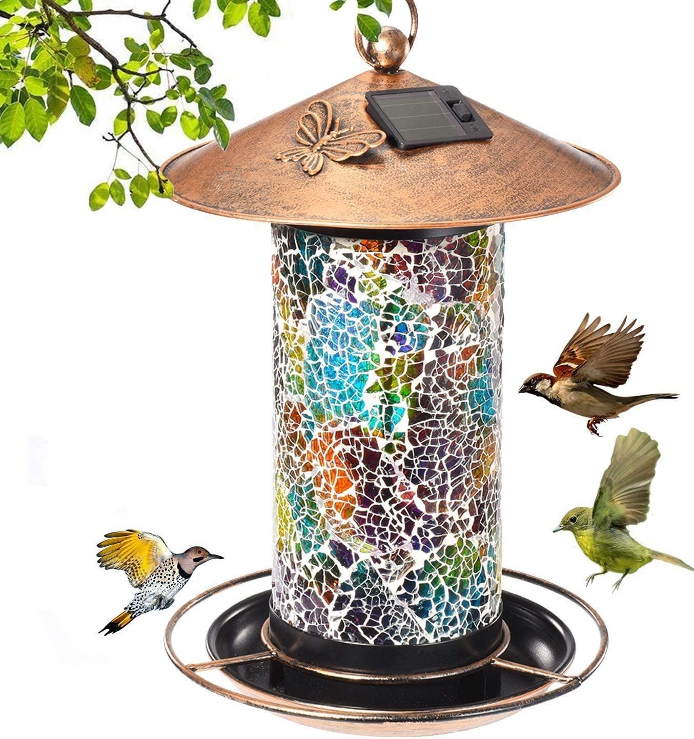 Sunshiney Solar Bird Feeder for Outside Hanging Outdoor,Mosaic Decor,Solar Powered Garden Lantern Lights Bird-House Wild Hanging Bird Feeder Waterproof Unique Retro Copper Bird Feeder for Outdoors