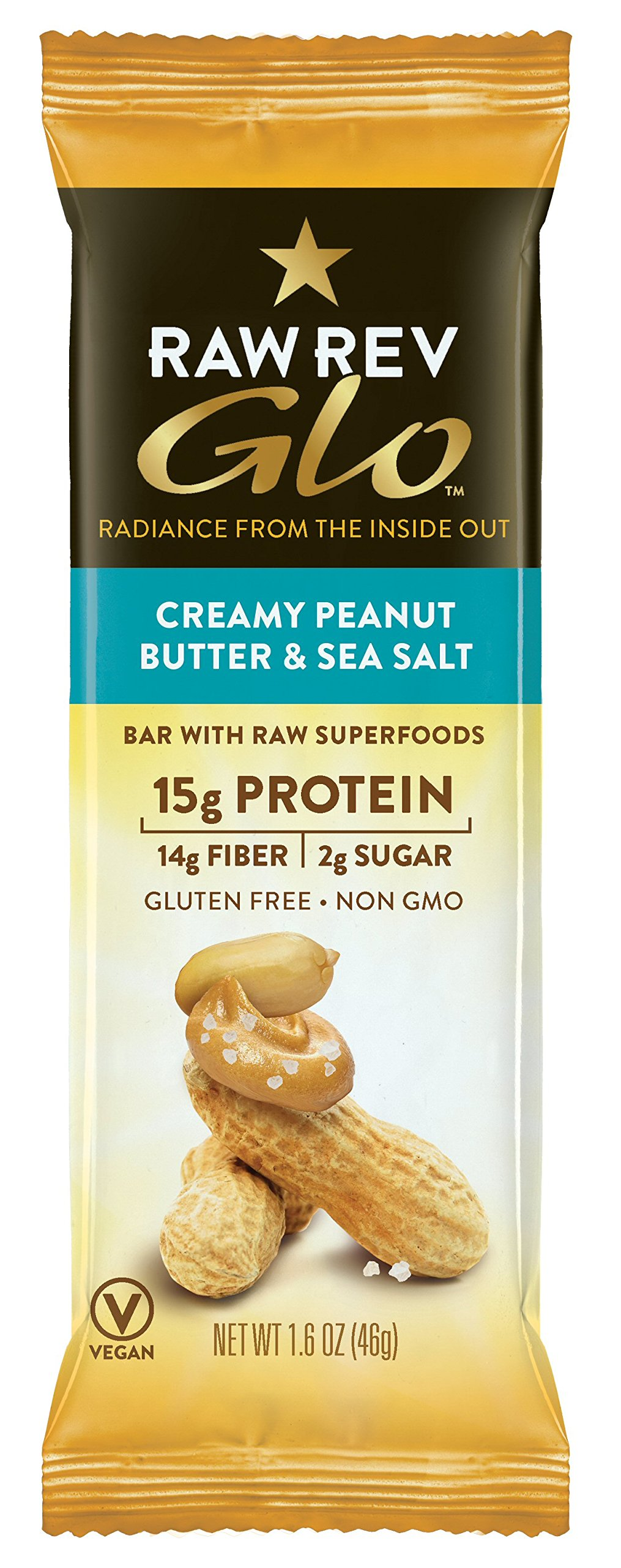 Raw Rev Glo Vegan, Gluten-Free Protein Bars - Creamy Peanut Butter & Sea Salt 1.6 ounce (Pack of 12)