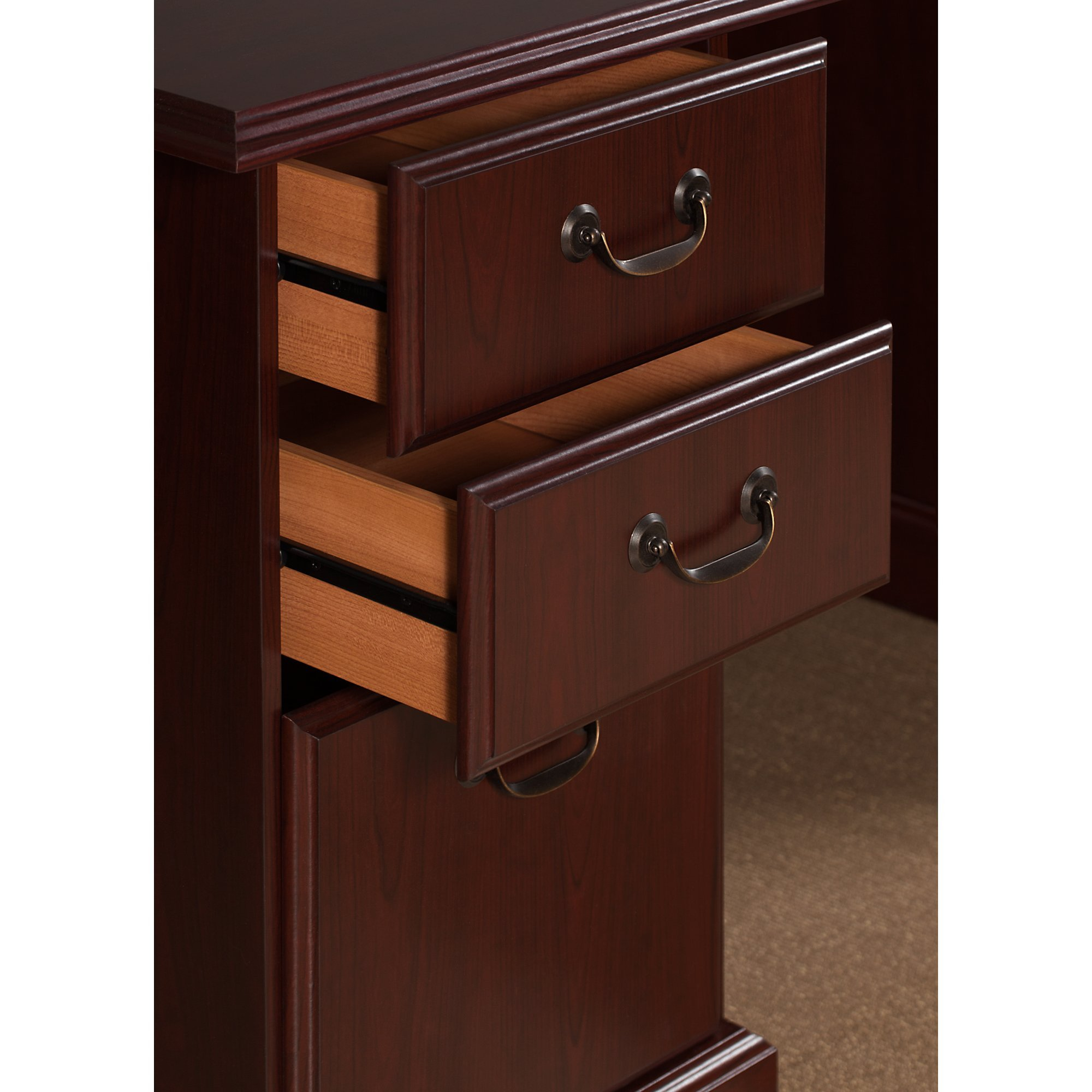 kathy ireland Office by Bush Furniture Bennington L Shaped Desk with Drawers in Harvest Cherry by kathy ireland Home by Bush Furniture (Image #4)