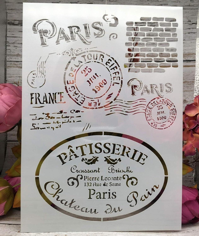 WLWINTER Lot de 4 pochoirs A4 Motif Paris