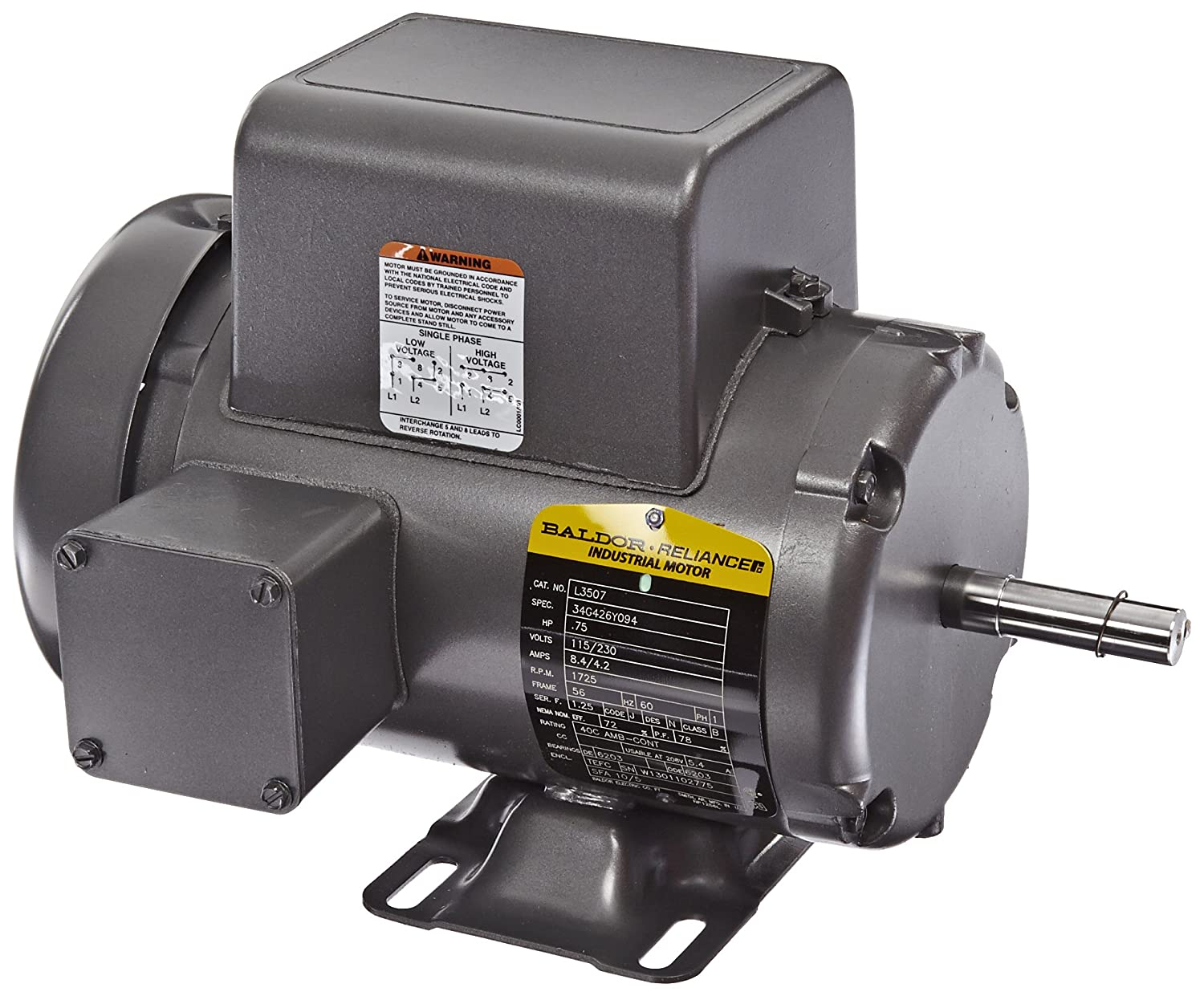 Baldor L3507 General Purpose Ac Motor Single Phase 56 Frame Tefc Motors Enclosure 3 4hp Output 1725rpm 60hz 115 230v Voltage Electric