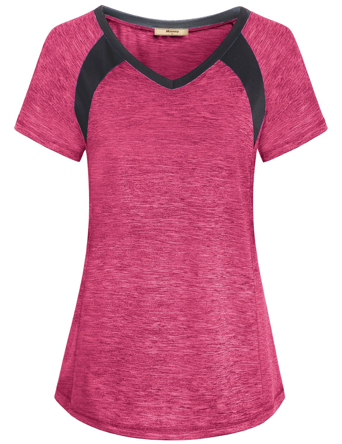 Miusey Workout Clothes for Women, Girls Quick Dry Shirts Short Raglan Sleeve V Neck Yoga Running Tunic Lightweight Top Casual Summer Hipster Fashion Primary Fitness Tees Red M