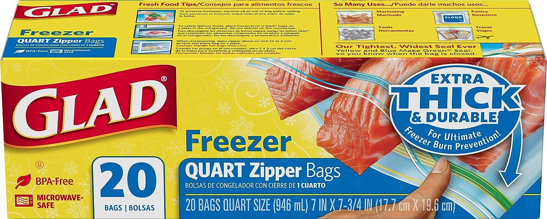 Glad Zipper Freezer Bags, Quart Size 20 bags