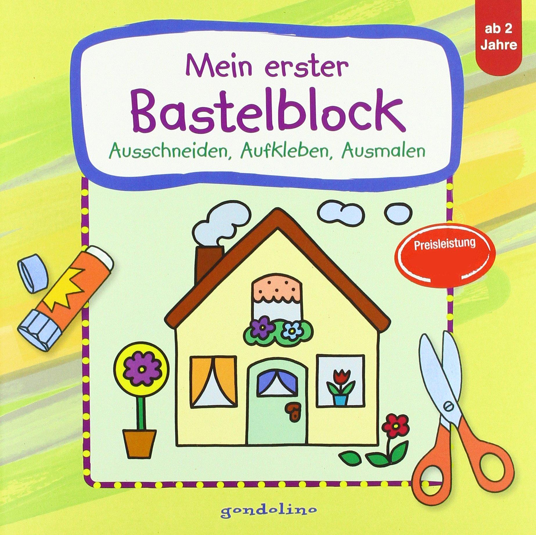 Mein erster Bastelblock Haus : Ausschneiden, Aufkleben, Ausmalen ...