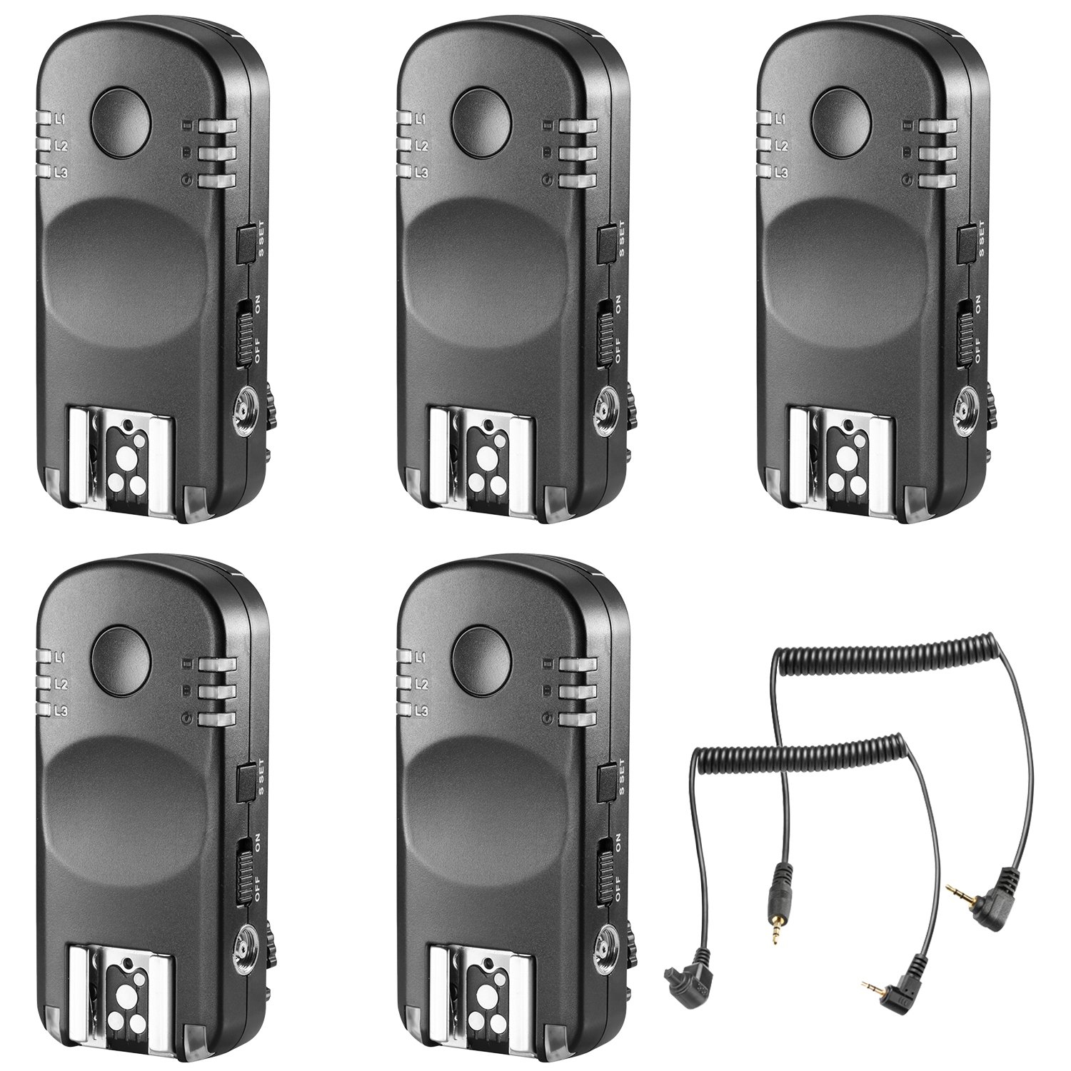 Neewer 5-Pack 2.4GHz 7-Channel Wireless Remote Flash Trigger Transceivers with C1 and C3 Shutter Cable for Canon 1D Mark II III IV 5D Mark II III IV 1100D 1000D 700D 650D 600D 500D 450D 100D 60D by Neewer