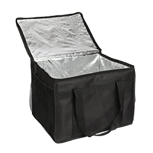 cherrboll Large Food Delivery Bag with Side Pockets, Thick Insulation, Collapsible, Thermal Food Carrier for Catering Restaurants