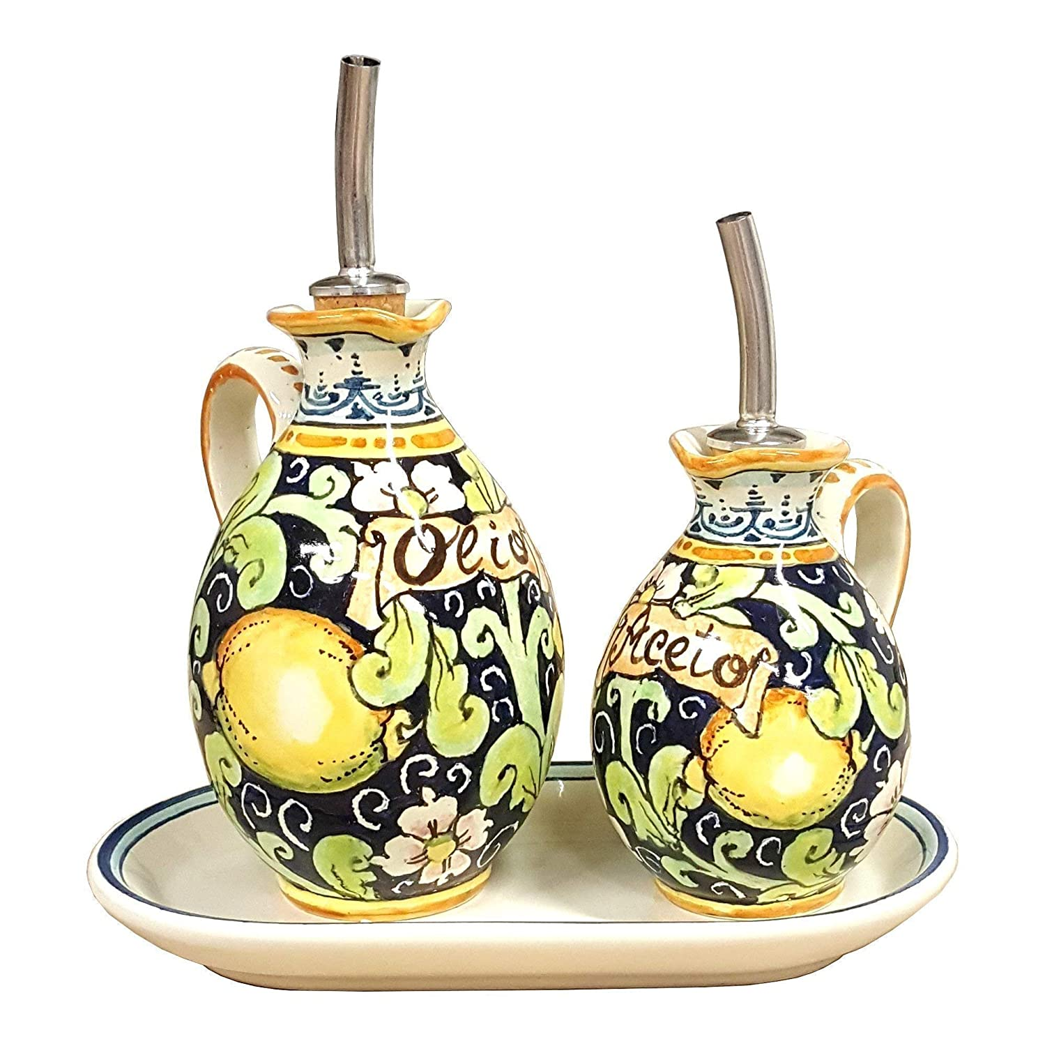 CERAMICHE D'ARTE PARRINI - Italian Ceramic Set Cruets Oil And Vinegar + Small Tray Decorated Lemons Art Pottery Hand Painted Made in ITALY Tuscan