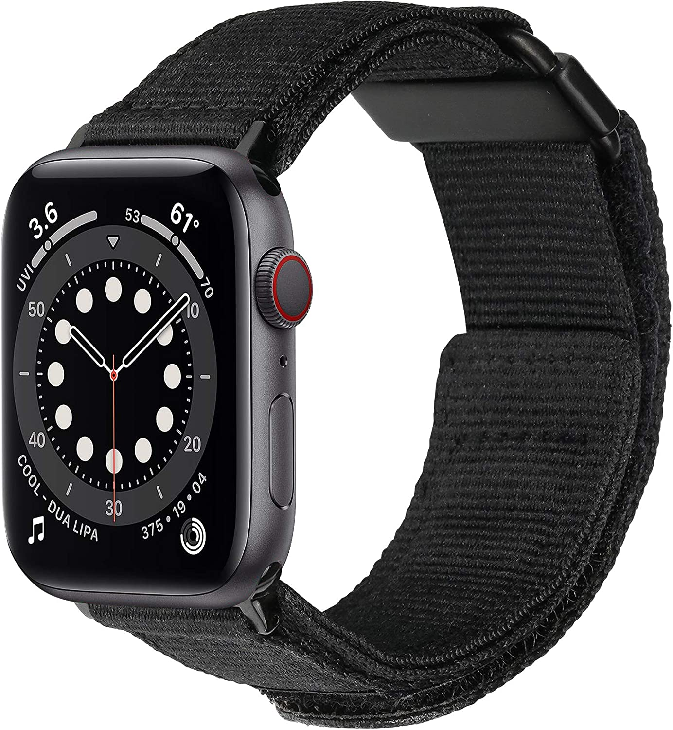baozai Compatible with Apple Watch Band 44mm 42mm, iWatch Series 6/5/4/3/2/1 & Watch SE, Nylon Weave Loop Sport Strap with Metal Buckle for Men (Black, 44mm/42mm)