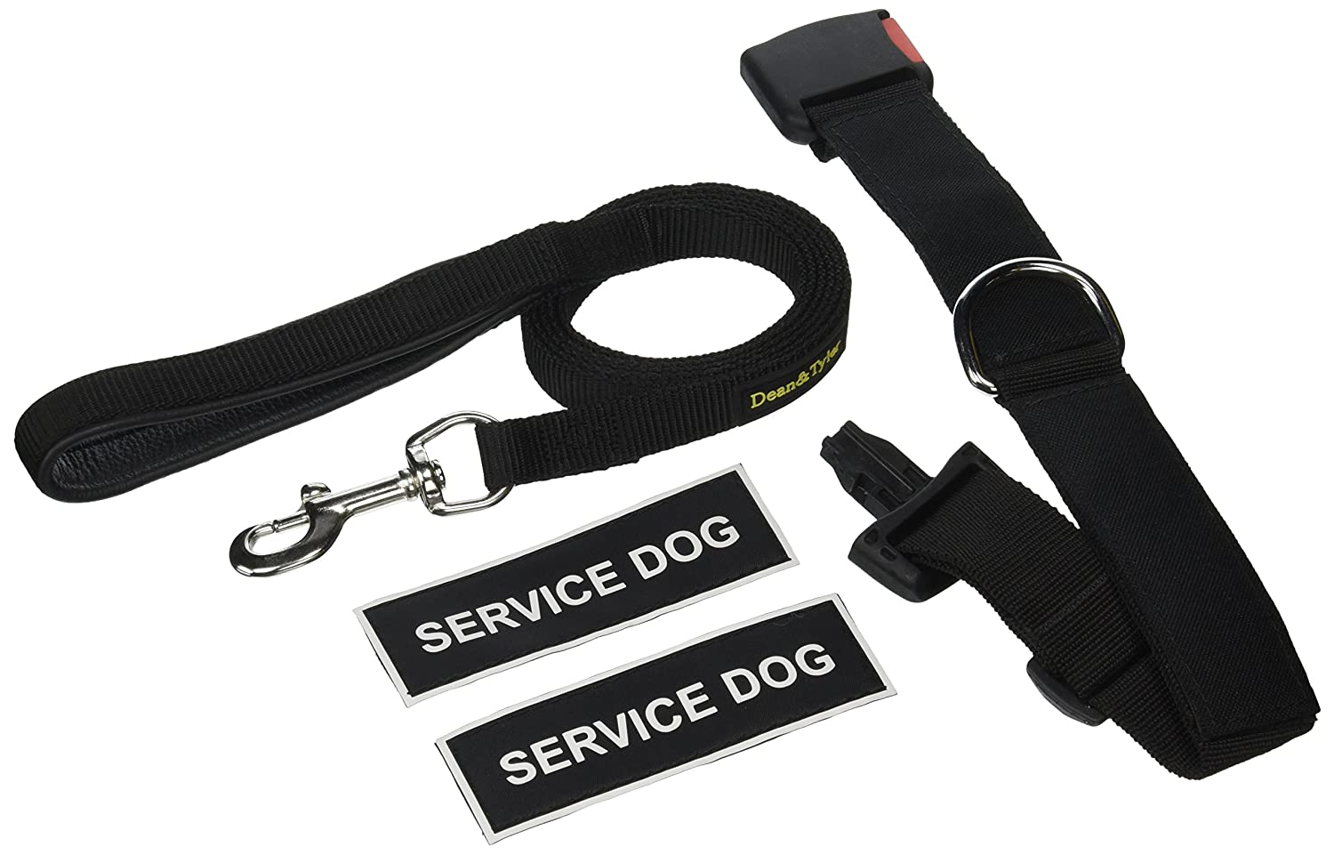 Dean & Tyler Service Dog 18 by 21-Inch Patch Collar with 6-Feet Stainless Steel Snap Padded Puppy Leash, Small, Black
