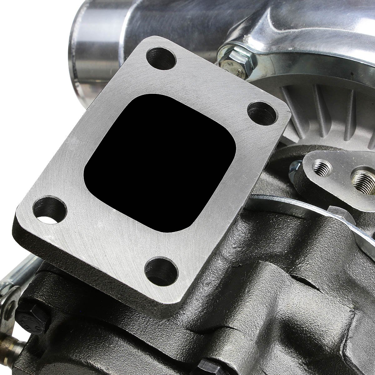 T04E T3//T4 4-Bolt Polished Anti-Surge Turbocharger with Wastegate Turbine A//R .63