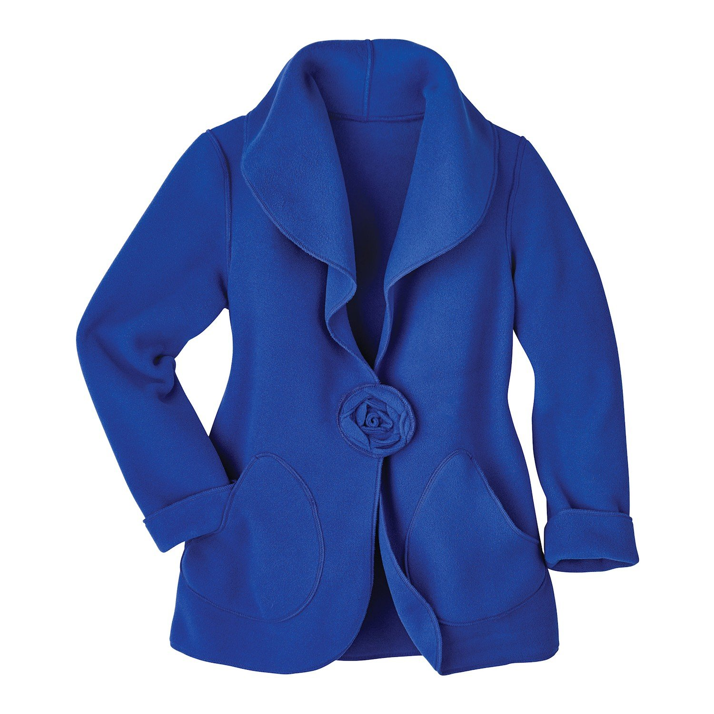 CATALOG CLASSICS Women's Fashion Jacket - Sapphire Fleece Rosette Blazer - 2X by CATALOG CLASSICS