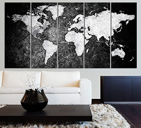 Amazon world map canvas prints 5 panel black and white large world map canvas prints 5 panel black and white large wall art canvas map gumiabroncs Image collections
