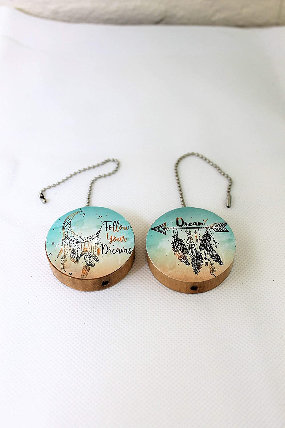 Set of 2 Follow Your Dreams Round Wood Fan//Light Pull