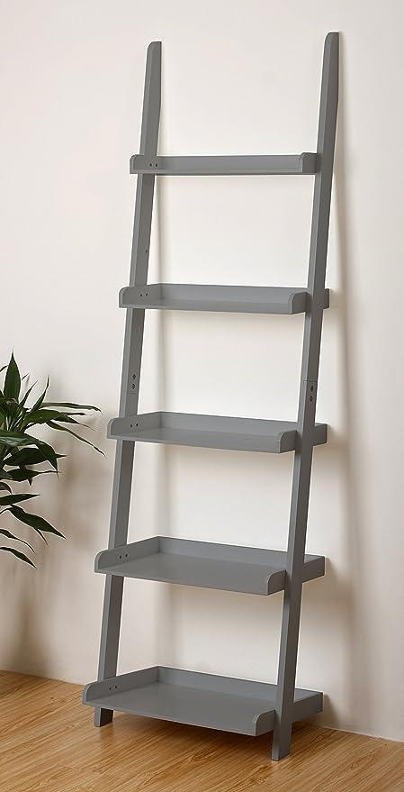 EHemco 5 Tier Leaning Ladder Wall Book Shelf In Grey 21 8