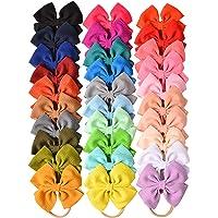 30 PCS Big Bows Baby Nylon Headbands Hairbands Hair Bows Elastics for Baby Girls Newborn Infant Toddler Child Hair…