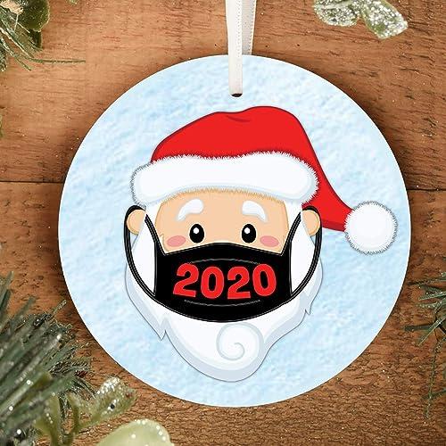 2020 Satin Christmas Year Ornament Amazon.com: Santa Wearing Mask 2020 Christmas Tree Ornament Comes