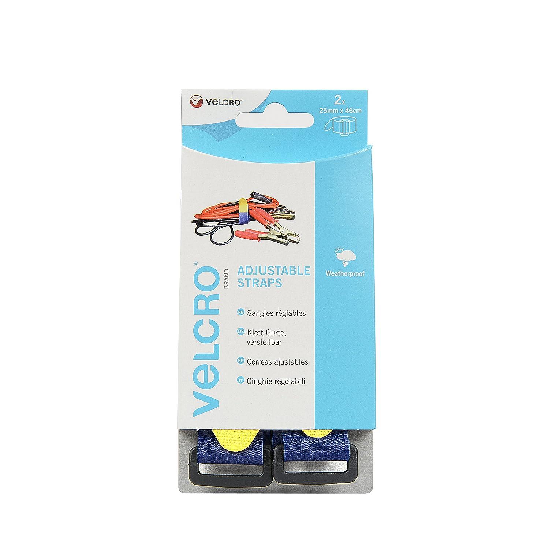 VELCRO Brand Correas ajustables 25mm x 46cm x 2 Azul Conmetall VEL-EC60328