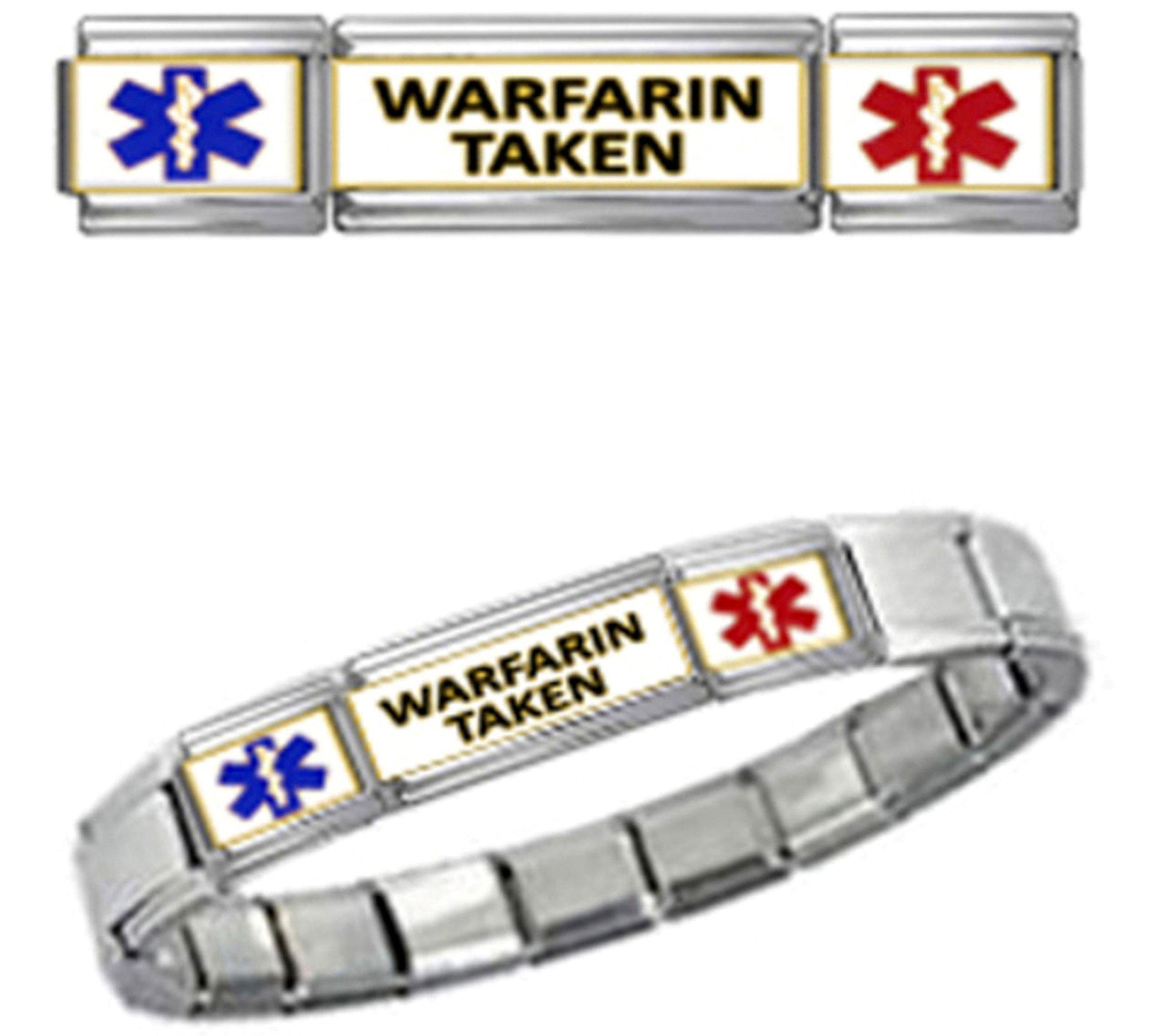WARFARIN TAKEN MEDICAL ALERT ID 9mm + Italian Charm SILVER TONE MATTE BRUSHED Starter Bracelet
