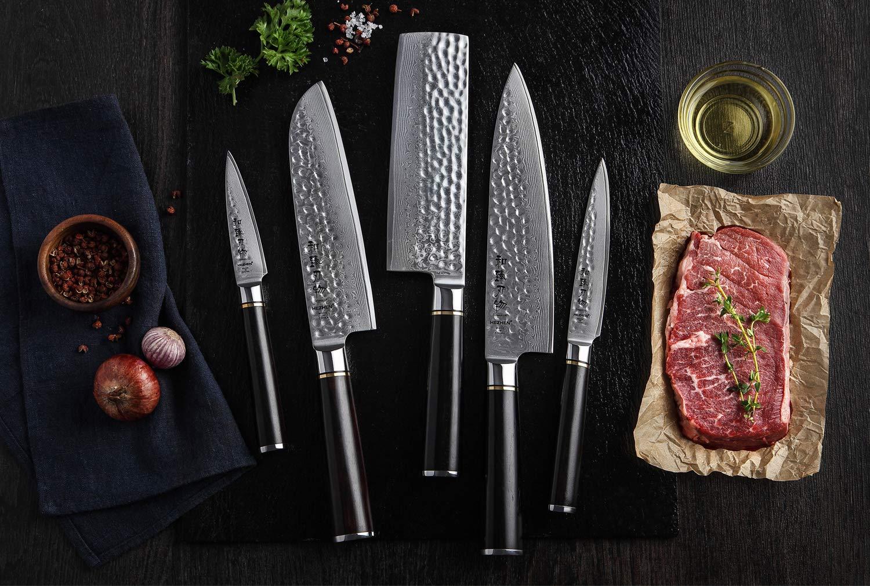 HEZHEN 5-Piece Damascus Kitchen Knife Set, Chef Knife Nakiri Santoku and Utility Knife Hammered Forging 67 Layer Japanese Damascus Steel Professional Chef's Kitchen Knife Ebony Handle - Classic Series by HEZHEN (Image #6)