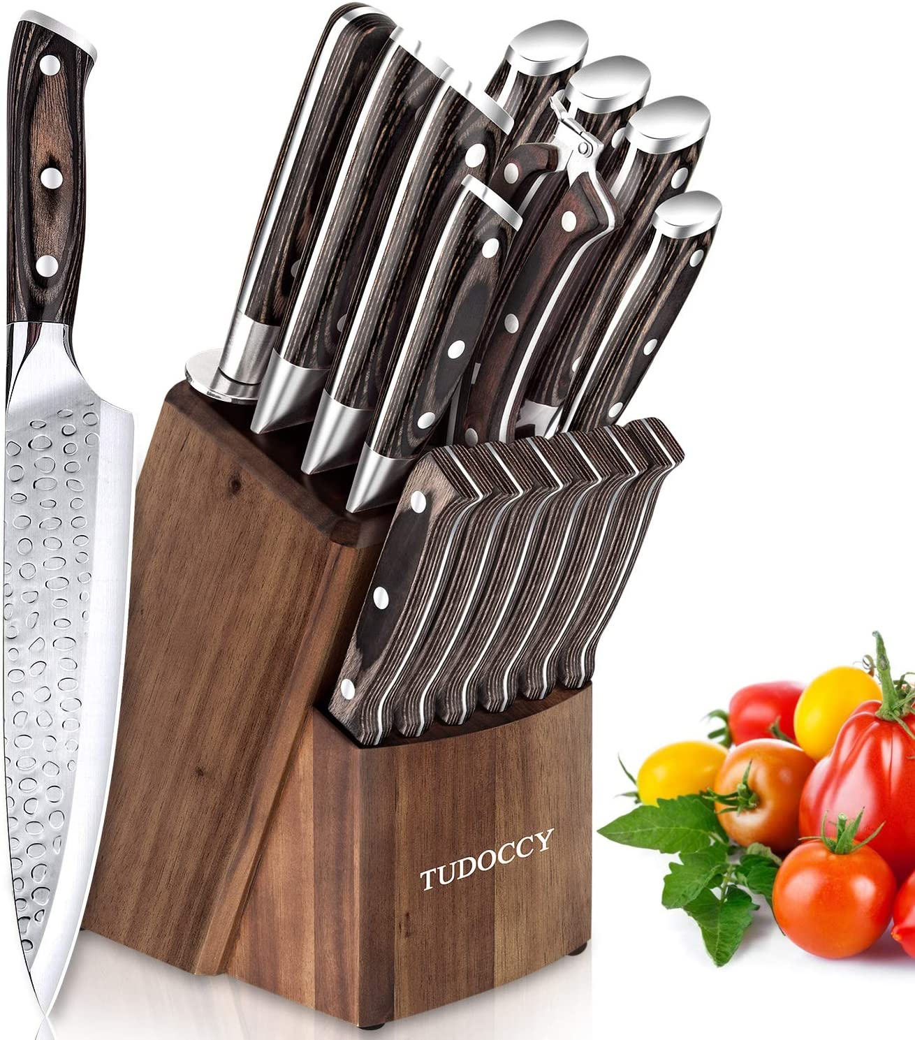 Kitchen Knife Set, 16-Piece Knife Set with Built-in Sharpener and Wooden Block, Precious Wengewood Handle for Chef Knife Set, German Stainless Steel Knife Block Set, Ultra Sharp Full Tang Forged