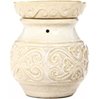 "Hosley 6"" High Cream Ceramic Electric Candle Warmer. Ideal Gift for Wedding, Spa and Aromatherapy. Use with Brand Wax Melts/Cubes, Essential Oils and Fragrance Oils. O4"