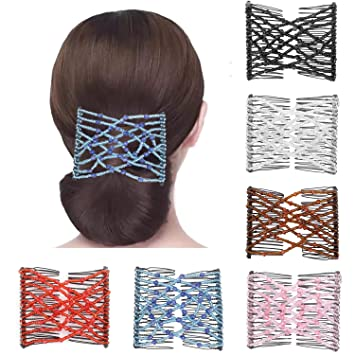 Womens Magic Beads Stretch Double Hair Comb Clip Hairpin Accessories Decoration