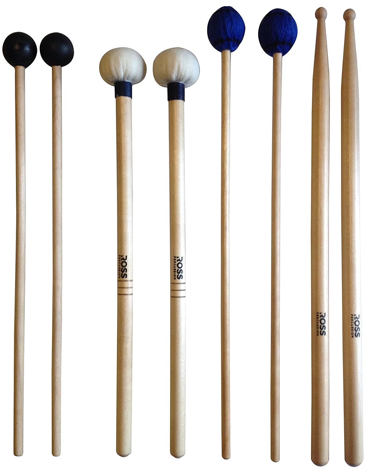 ROSS Percussion Intermediate Drum Mallet Set:General Timpani, SD2 Drumsticks, Medium Keyboard Mallets, Xylophone Rubber Mallets RP-1