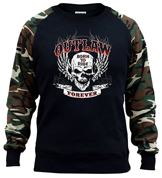 Interstate Apparel Men's Outlaw Forever Born To Ride Skull Black