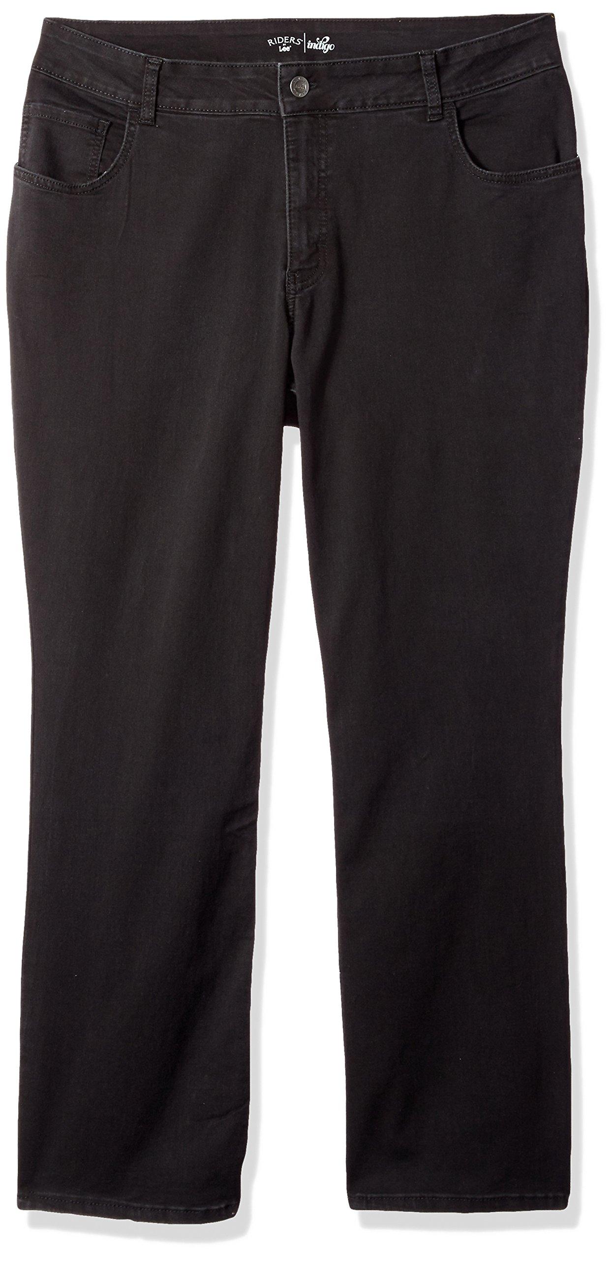 Riders by Lee Indigo Women's Plus Size Stretch Fit No Gap Boot Cut Jean, Soft Black, 22W