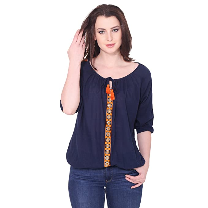 327b878f366688 AANIA Beautiful Embroidered Exclusive Casual cotton Women s Top (Blue