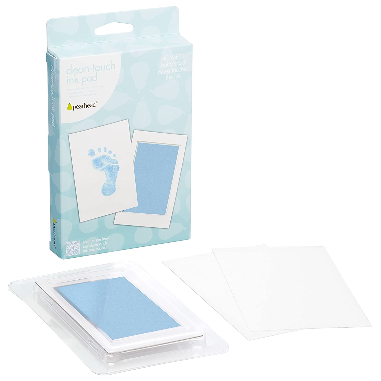 "Pearhead Newborn Baby Handprint or Footprint ""Clean-Touch"" Ink Pad, 2 Uses, Blue 00008"
