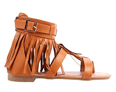 dbbad70adaa weyoh Youth Size Fashion Buckle Back Zipper Casual Indian Style Fringe Kids  Cute Girls Gladiators Sandals