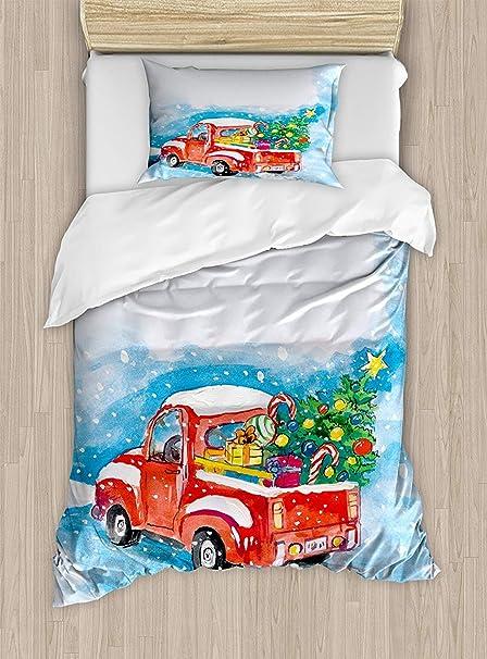 Twin XL Extra Long Bedding Set, Christmas Duvet Cover Set, Vintage