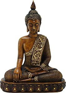 "Benzara Asian-Themed Sitting Polystone Buddha Sculpture, 15 by 12"", Textured Bronze Finish"