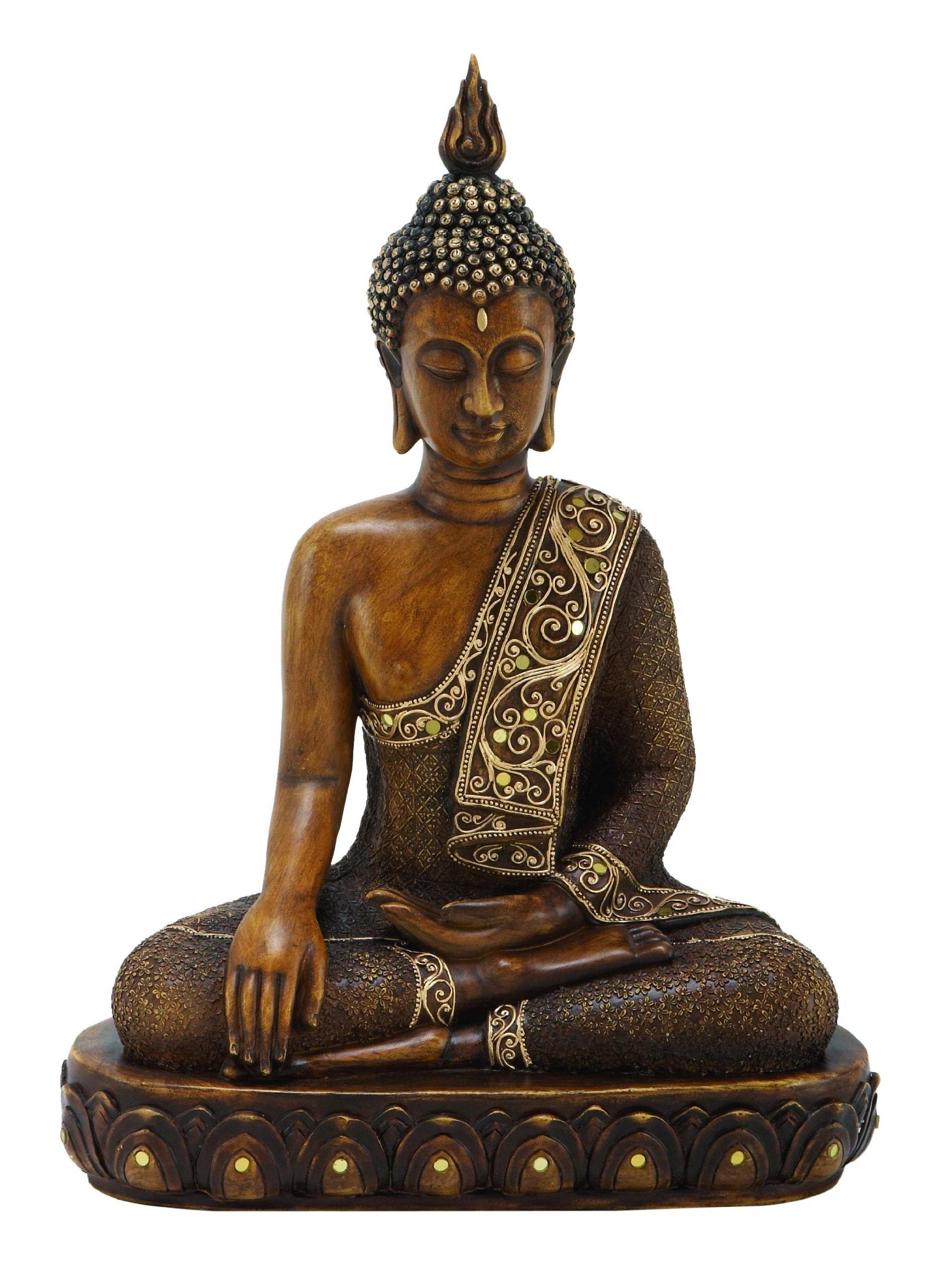 Benzara Asian-Themed Sitting Polystone Buddha Sculpture, 15 by 12'', Textured Bronze Finish by Benzara