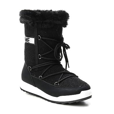 HERIXO Damen Schuhe Winter-Stiefel Snowboots Schrift Logo geschnürt  Lammfellimitat Kunstfell warm dick gefüttert ( e533c3f1a9