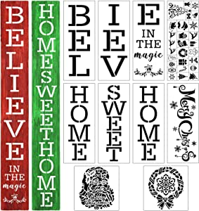 35 Pieces Christmas Reusable Large Stencils Merry Christmas Stencils Template for Painting on Wood Letters Patterns Painting Stencils for Door Home DIY Decor, 13.78 x 5.51 Inch, 7.87 x 7.87 Inch