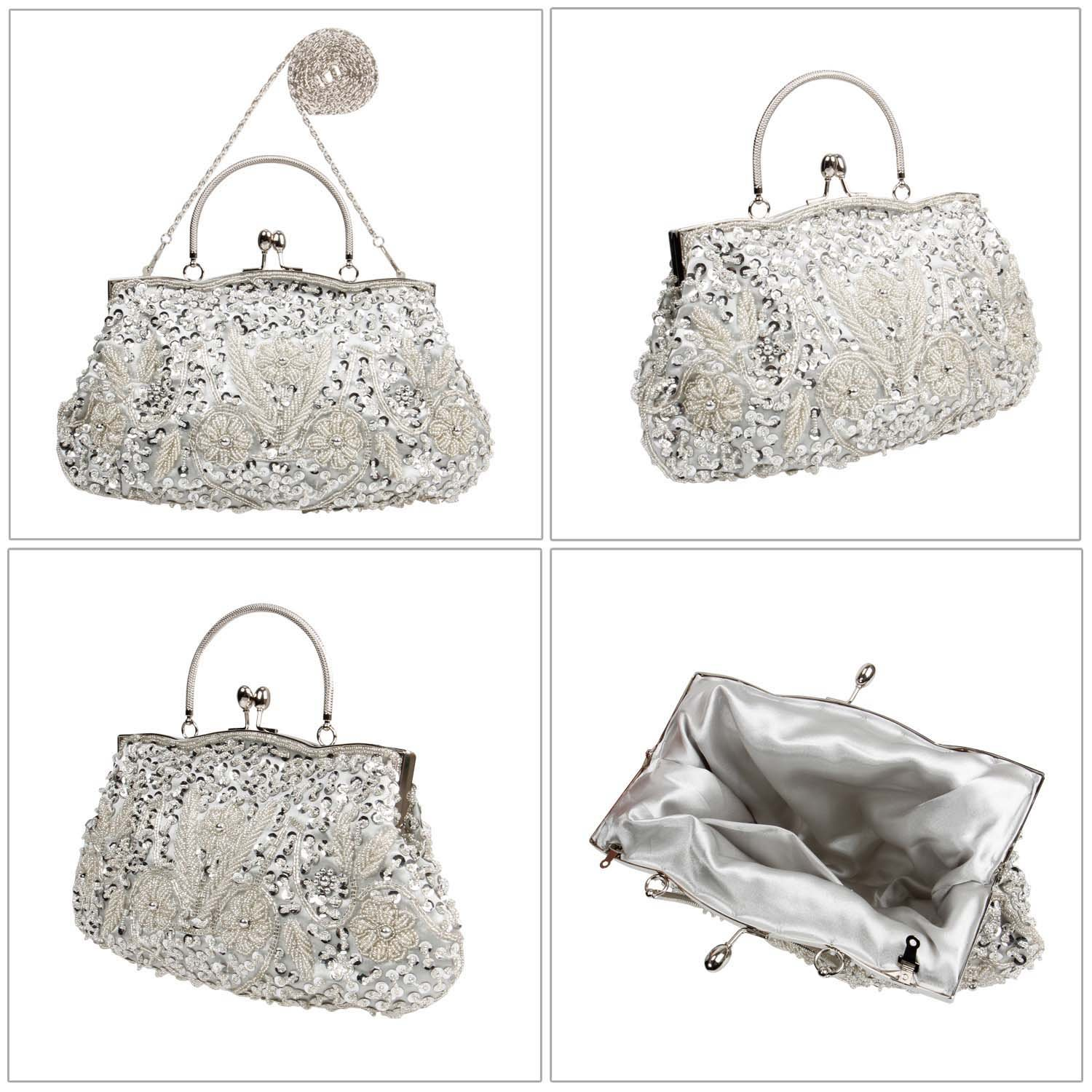 BMC Silver Beaded Sequin Design Metal Frame Kissing Lock Satin Clasp Interior Evening Clutch - Exuding Eloquence Collection by Bundle Monster (Image #2)