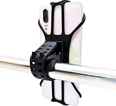 IPOW Bike Phone Mount Holder with 360/°Rotation Motorcycle Phone Mount Holder Features Strong Metal Base Silicone Rubber Band Universal Bicycle Phone Mount Fits Most Handlebars and 3.5-7 Smart Phones