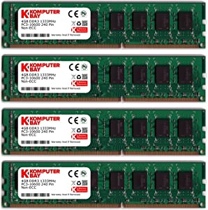 Komputerbay 16GB (4 X 4GB) DDR3 DIMM (240 pin) 1333Mhz PC3 10600 / PC3 10666 16 GB KIT